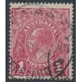 AUSTRALIA - 1918 1d damson KGV Head, (shade = G70½), used – ACSC # 72K