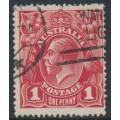 AUSTRALIA - 1917 1d deep brown-orange KGV Head (shade = G24), used – ACSC # 71O