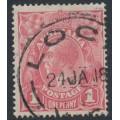 AUSTRALIA - 1918 1d pink KGV Head (shade = G28), used – ACSC # 71T