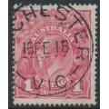 AUSTRALIA - 1918 1d carmine-pink (LM watermark) KGV (shade = G101), used – ACSC # 73A