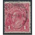 AUSTRALIA - 1918 1d deep carmine-pink (LM watermark) KGV (shade = G101), used – ACSC # 73A