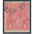 AUSTRALIA - 1917 1d deep pink eosin KGV Head (shade = G27A), used – ACSC # 71SA