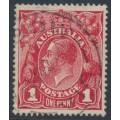 AUSTRALIA - 1914 1d carmine-red KGV Head (G10), inverted watermark, used – ACSC # 71Aa