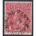 AUSTRALIA - 1915 1d dull red KGV Head (G16), MINER'S REST, Victoria cancel