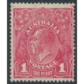 AUSTRALIA - 1918 1d rosine KGV Head (shade = G68), MH – ACSC # 72I
