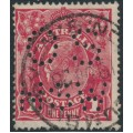 AUSTRALIA - 1919 1d carmine (LM watermark) KGV Head (G107), perf. OS NSW, used – ACSC # 74Db