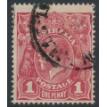 AUSTRALIA - 1918 1d dull brownish carmine-rose KGV Head (G30), 'thin G', used – ACSC # 71V(2)l