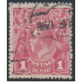 AUSTRALIA - 1918 1d carmine-rose KGV Head (G30), 'spot on Y', used – ACSC # 71V(2)m