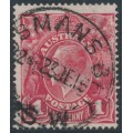 AUSTRALIA - 1916 1d scarlet-red (aniline) KGV Head (G18), 'rusted cliché [left]', used – ACSC # 71I(2)j