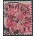 AUSTRALIA - 1916 1d scarlet-red (aniline) KGV Head (G18), 'rusted cliché [left]', used – ACSC # 71I(2)j