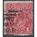 AUSTRALIA - 1918 1d carmine-red KGV (G73), perf. OS, 'die II substituted cliché', used – ACSC # 72P(2)ja+bb