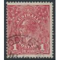AUSTRALIA - 1918 1d carmine-rose KGV Head (G74), 'die I substituted cliché [early]', used – ACSC # 72Q(2)ka