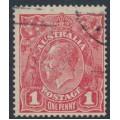 AUSTRALIA - 1915 1d reddish pink KGV Head (G15), 'spot on Y', used – ACSC # 71F(2)m