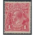 AUSTRALIA - 1918 1d carmine-rose KGV Head (G30), 'flaw under King's neck', MH – ACSC # 71V(4)h