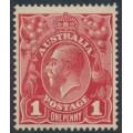 AUSTRALIA - 1917 1d rose-carmine KGV Head (shade = G22), 'Ferns', MH – ACSC # 71L(4)ia