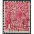 AUSTRALIA - 1918 1d carmine-red (die III) KGV Head (G109), 'scratch below right wattles', used – ACSC # 75Al