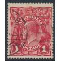 AUSTRALIA - 1914 1d carmine-red KGV Head (G10), 'line under RVT', used – ACSC # 71A(2)g