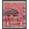 AUSTRALIA - 1915 1d dull red KGV Head (G16), 'flaw on frame behind Emu', used – ACSC # 71E(2)n