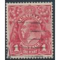 AUSTRALIA - 1917 1d rose-carmine KGV Head (G22), 'thin left frame', used – ACSC # 71L(3)n