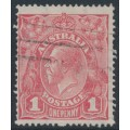 AUSTRALIA - 1917 1d rose KGV Head (G21), 'flaw under King's neck', used – ACSC # 71K(4)h