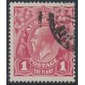 AUSTRALIA - 1918 1d carmine-red KGV Head (G31), 'scratch behind Roo', used – ACSC # 71Y(4)p