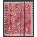 AUSTRALIA - 1918 1d deep red (die III) KGV Head (G110), 'shaved NW corner', used – ACSC # 75B