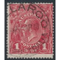 AUSTRALIA - 1918 1d brownish red KGV Head (G75), 'saddle on Emu', used – ACSC # 72N(1)e
