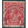 AUSTRALIA - 1914 1d carmine-red KGV Head (G10), 'flaw in crown top', used – ACSC # 71A(3)i