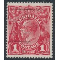 AUSTRALIA - 1915 1d dull red KGV Head (G16), 'flaw in crown top', used – ACSC # 71E(3)i