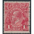 AUSTRALIA - 1916 1d scarlet-red (aniline) KGV Head (G18), 'notch in NW corner', used – ACSC # 71I(3)p