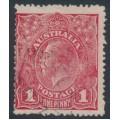 AUSTRALIA - 1917 1d carmine (aniline) KGV Head (G62), 'wattle line', used – ACSC # 72C(4)f