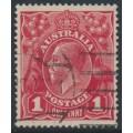 AUSTRALIA - 1916 1d scarlet-red (aniline) KGV Head (G18), 'nick at upper left', used – ACSC # 71I(4)g