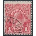 AUSTRALIA - 1917 1d rose-carmine KGV Head (G22), 'nick at upper left', used – ACSC # 71L(4)g