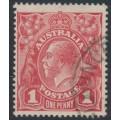 AUSTRALIA - 1917 1d rose-carmine KGV Head (G22), 'flaw under King's neck', used – ACSC # 71L(4)h