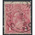 AUSTRALIA - 1918 1d carmine-rose KGV Head (G30), 'flaw under King's neck', used – ACSC # 71V(4)h
