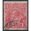 AUSTRALIA - 1917 1d rose-carmine KGV Head (G22), 'RA joined', used – ACSC # 71L(4)j