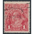 AUSTRALIA - 1914 1d carmine-red KGV Head (G10), 'thin ONE PENNY', used – ACSC # 71A(4)l