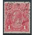 AUSTRALIA - 1915 1d dull red KGV Head (G16), 'thin ONE PENNY', used – ACSC # 71E(4)l