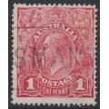 AUSTRALIA - 1917 1d carmine (aniline) KGV Head (G62), 'thin ONE PENNY', used – ACSC # 72C(4)l