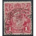 AUSTRALIA - 1917 1d crimson KGV Head (shade = G23), 'dry ink', used – ACSC # 71Nca
