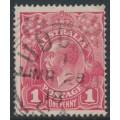 AUSTRALIA - 1918 1d bright carmine-rose KGV Head (shade = G30), 'spot in SE corner', used – ACSC # 71V(4)s