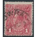AUSTRALIA - 1918 1d carmine-rose KGV Head (G74), 'die I substituted cliché', used – ACSC # 72Q(2)ka