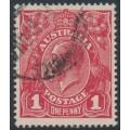 AUSTRALIA - 1918 1d carmine-red (die III) KGV Head (G109), 'diagonal break NW', used – ACSC # 75Ao