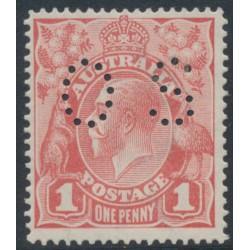 AUSTRALIA - 1917 1d pale rose KGV Head (shade = G21), 'dry ink', MH – ACSC # 71Kca + bb