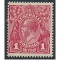 AUSTRALIA - 1920 1d carmine [aniline] KGV Head (G33), 'flaw under King's neck', MH – ACSC # 71Z(4)h