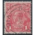AUSTRALIA - 1917 1d brownish rose KGV Head (G23½), 'run N [state III]', used – ACSC # 71M(4)vb