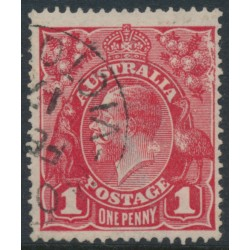 AUSTRALIA - 1916 1d scarlet-red [aniline] KGV Head (G18), 'rusted cliché [left unit]', used – ACSC # 71I(2)j