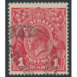 AUSTRALIA - 1918 1d carmine red (die III) KGV Head (G109), 'thin US [state I]', used – ACSC # 75Ak