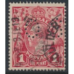 AUSTRALIA - 1917 1d crimson KGV Head (shade = G23), perforated OS, 'dry ink', used – ACSC # 71Nca + bb