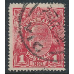 AUSTRALIA - 1916 1d scarlet-red [aniline] KGV Head (G18), 'rusted cliché [right unit]', used – ACSC # 71I(2)k